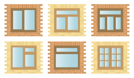 Set exterior wooden windows with brick frames, architectural construction detail, illustration Vector
