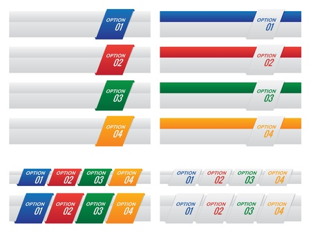 numbered: Options design template with four different designs for options one through four on different coloured diagonal tabs in a horizontal banner format Illustration