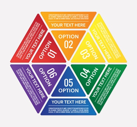 triangle button: Hexagonal graphic table divided into colorful triangles with copy-space Illustration
