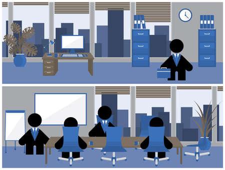 teamleider: Zakelijke banner in blauw, zwart en bruin mensen afschilderen bedrijfsleven werken zitten rond een vergadertafel in een vergadering, tijdens de training of het luisteren naar een presentatie door een teamleider
