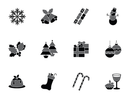 Collection of christmas icons depicting snowflakes, snowman, christmas food, drink and decorations in a hexagonal format