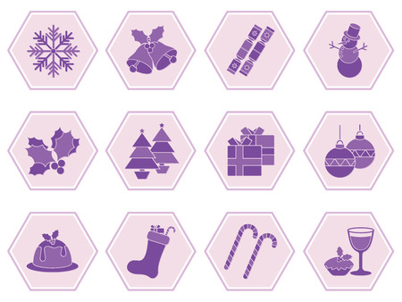 cracker: Collection of christmas icons depicting snowflakes, snowman, christmas food, drink and decorations in a hexagonal format