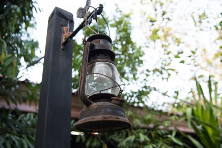 street lamp: Old lantern lamp vintage style on street Stock Photo