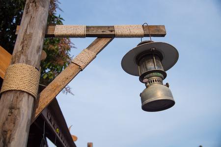 Old lantern lamp vintage style on street Stock Photo