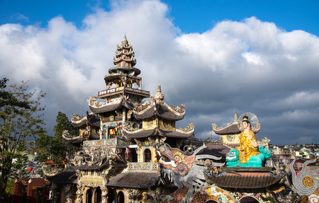 roof profile: Linh Phuoc Chinese pagoda, Dalat city, Vietnam.