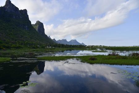 The limestone mountain path on the lagoon. Beautiful tourist attractions,Thailand