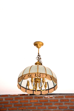 chandelier: Vintage chandelier lamp isolate on white background for decoration. Stock Photo
