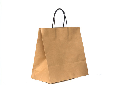 craft product: Recycled brown paper shopping bag isolated on white background