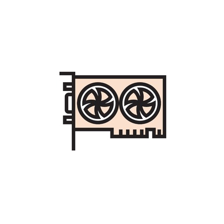 Graphic Card icon filled outline or line style vector illustration. computer hardware and accessories Ilustración de vector