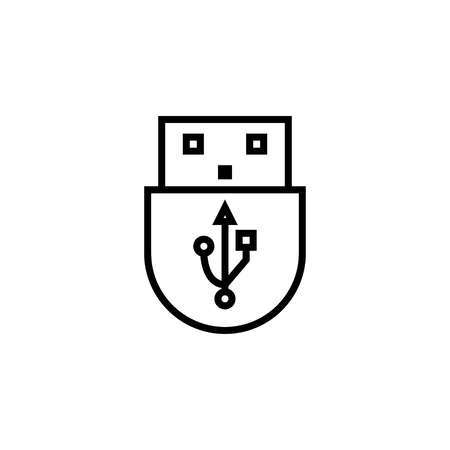 USB icon outline or line style vector illustration. computer hardware and accessories