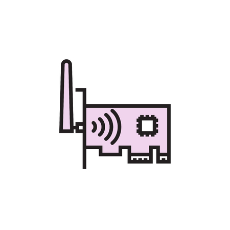 Network card icon filled outline or line style vector illustration. computer hardware and accessories