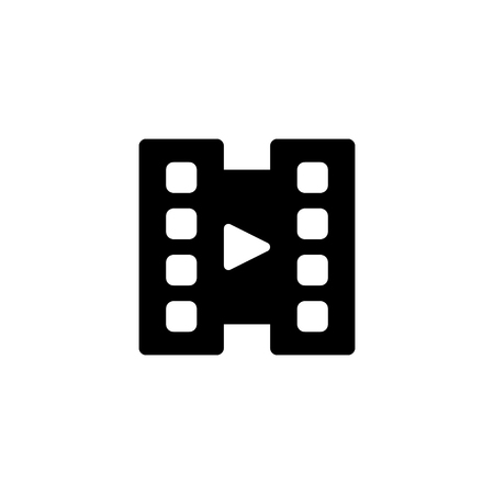 Video Player icon with glyph style vector illustrator. Multimedia software