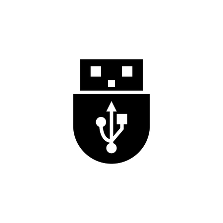 USB icon glyph or solid style vector illustration. computer hardware and accessories Ilustracja