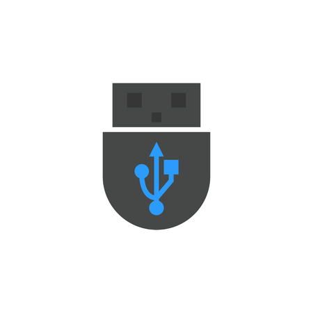 USB icon flat style vector illustration. computer hardware and accessories Ilustracja
