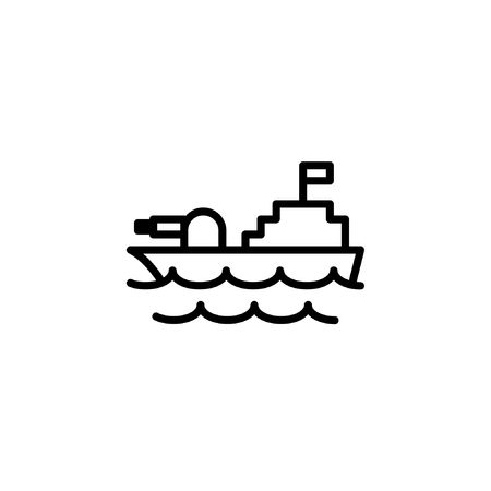 warship icon in line style icon stock of transportation vehicles. coloring picture for children game.