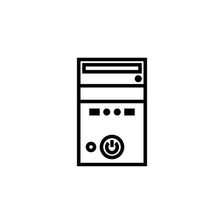 Personal computer case icon outline or line style vector illustration. computer hardware and accessories