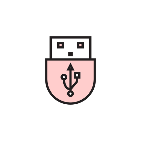USB icon filled outline or line style vector illustration. computer hardware and accessories Ilustracja