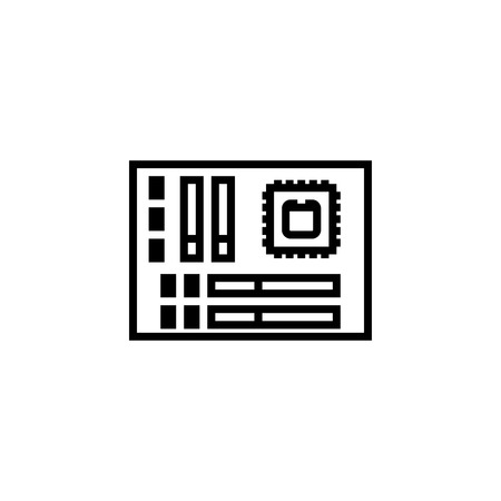 motherboard icon outline or line style vector illustration. computer hardware and accessories