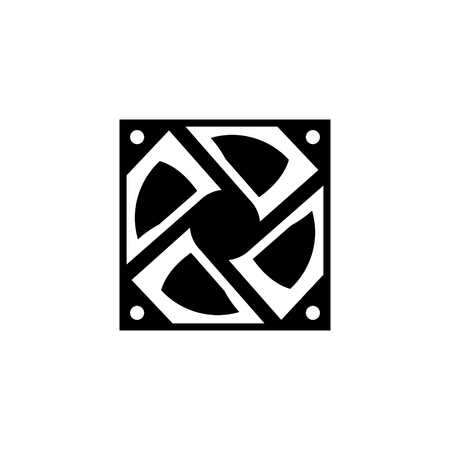 computer fan icon glyph or solid style vector illustration. computer hardware and accessories Illustration