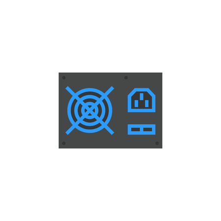 computer power supply unit icon flat style vector illustration. computer hardware and accessories
