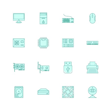 computer hardware and accessories icons set filled outline or line style vector illustration. computer peripherals