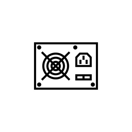 computer power supply unit icon outline or line style vector illustration. computer hardware and accessories