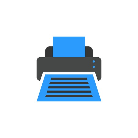 printer icon flat style vector illustration. computer hardware and accessories