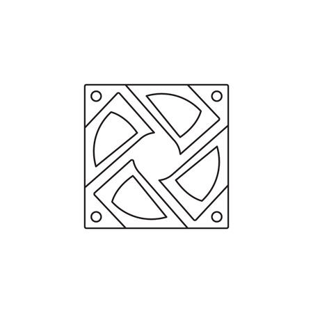 computer fan icon outline or line style vector illustration. computer hardware and accessories