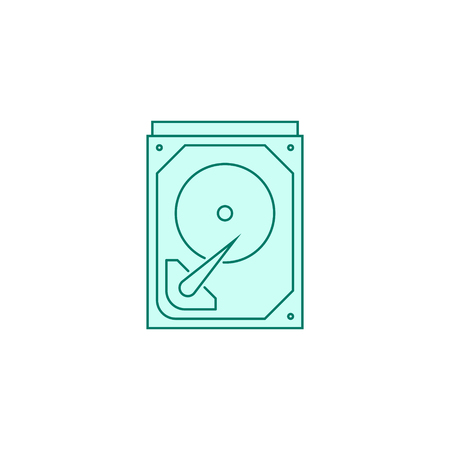 Hard drive icon filled outline or line style vector illustration. computer hardware and accessories