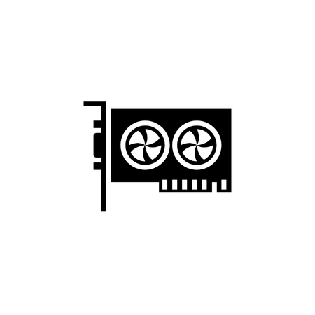 Graphic Card icon glyph or solid style vector illustration. computer hardware and accessories