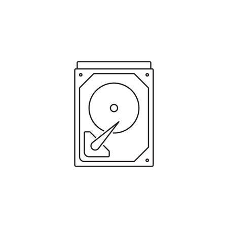 Hard drive icon outline or line style vector illustration. computer hardware and accessories