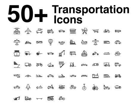 Transportation Line Icons Set. vector illustration. Outline Vehicles Icon Stock
