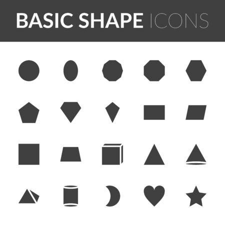 Set Of Basic Shape Icons. solid color shape vector illustration