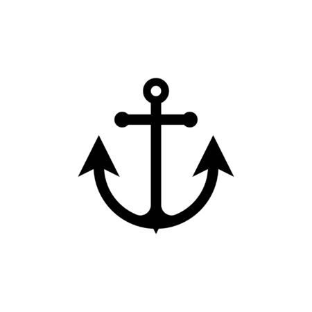 Anchor icon glyph style vector flat illustration on white background
