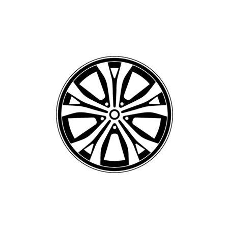 Autofelge-Symbol auf weißem Hintergrund. Radsymbol. Auto-Element Vektor-Illustration.