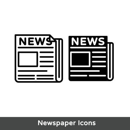 flat black newspaper vector icon Illusztráció