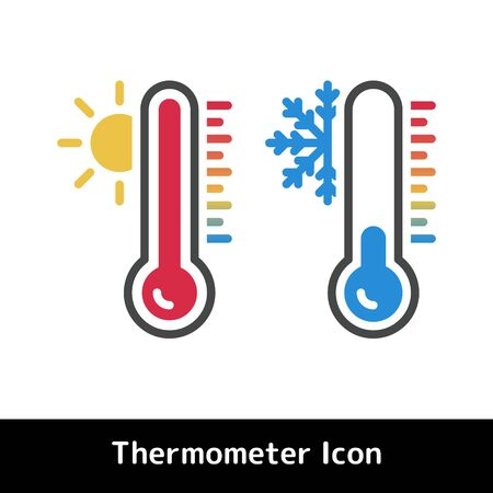 Thermometer icon for hot and cold temperature symbols, Flat vector illustration