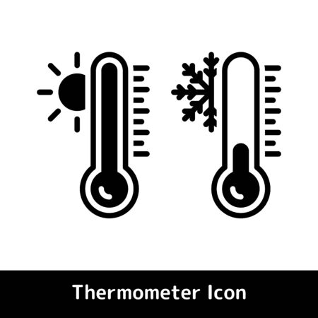 Thermometer icon for hot and cold temperature symbols, Glyph vector illustration