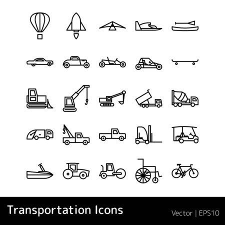 Set Of Transportation Icons isolated on white background Иллюстрация