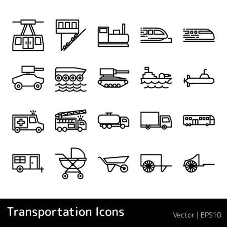 Set Of Transportation Icons isolated on white background Ilustração
