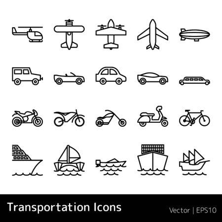 Ensemble d'icônes de transport isolé sur fond blanc