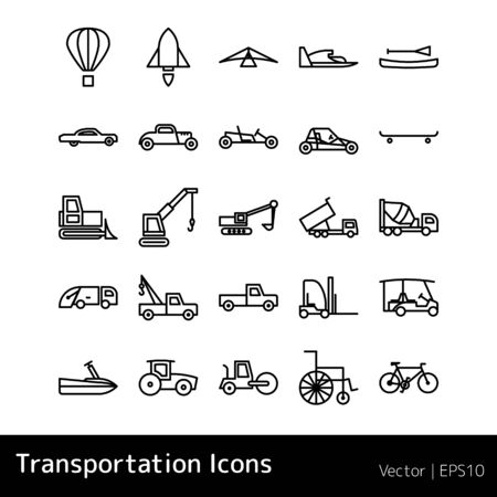 Set Of Transportation Icons isolated on white background Фото со стока - 129920412
