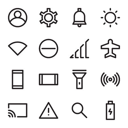 User interface icons, set of UI icons with outline style