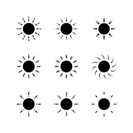 set of sun icons vector for Logo and brightness symbol with glyph or black solid style Logo