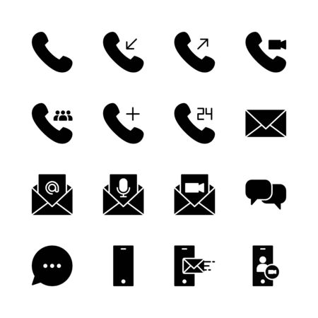 simple set of communication icons vector. perfect for any purposes