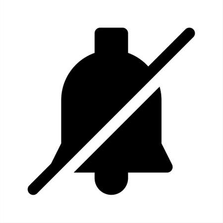 The crossed bell icon as a symbol for silent mode to mute notifications or ringtones, etc. Suitable for website interfaces, smartphone interfaces and for any purpose.