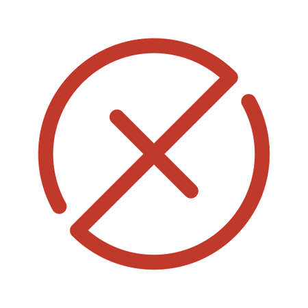 Red Cross mark vector icon. wrong symbol. declined sign isolated on white background