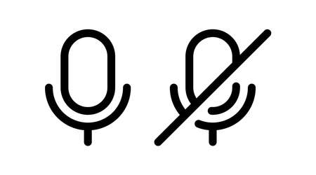 microphone icon vector. enable and disable voice button. suitable for user interface element isolated on white background.