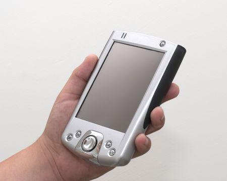 palmtop: Palmtop computer in hand