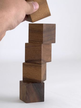 wood blocks: Building a tower with building blocks